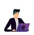 young man using laptop computer vector image vector image