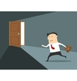 Businessman running to the exit vector image