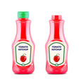 ketchup bottle with fresh tomatoe isolated on vector image