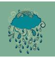 blue cloud with paisley rain vector image