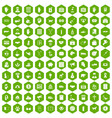 100 donation icons hexagon green vector image vector image