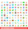100 interior icons set cartoon style vector image vector image