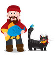 a fisherman with a big fish and a black cat vector image vector image