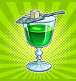 absinthe green alcohol drink pop art vector image vector image
