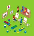 artist palette workplace interior concept 3d vector image vector image