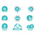 Bitcoin mining Set symbol vector image vector image