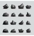Black polygon stone and poly rocks vector image vector image