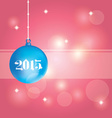 Blue Christmas ball on abstract pink background vector image
