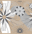 brown grey and white geometric modern flowers vector image vector image