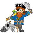 cartoon pirate with cannon vector image