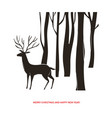 christmas card deer in the forest vector image
