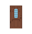 classic brown wooden entrance door closed elegant vector image vector image