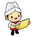 cook character receive an order with a laptop vector image