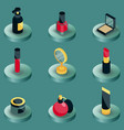 cosmetic color isometric icons vector image vector image