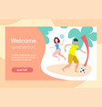 couple playing beach games female male activity vector image vector image