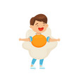 cute laughing boy wearing fried egg costume vector image