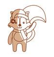 cute shadow christmas fox cartoon vector image vector image