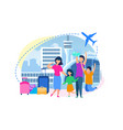 family buying tickets in airport flat vector image