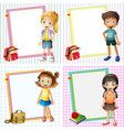 frame template with happy kids vector image vector image