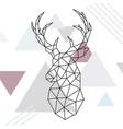 geometric reindeer low poly line art wild deer vector image vector image