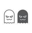 ghost line and glyph icon horror and character vector image vector image