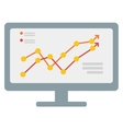 Growing business graph on computer monitor vector image vector image