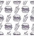 hand drawn burger and soda drink seamless pattern vector image vector image