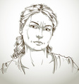 Hand-drawn portrait of white-skin doubtful woman vector image