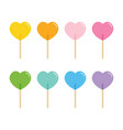 heart-shaped lollipops candies sweets vector image