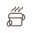 hot coffee cup and bean line design vector image vector image
