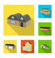 isolated object of facade and housing sign vector image
