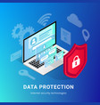 isometric internet security gradient banner vector image vector image