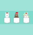 merry christmas llama alpaca sloth unicorn vector image vector image