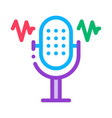microphone waves icon outline vector image vector image