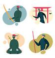 ninja characters in black spy masks - avatars set vector image