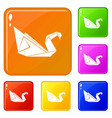 origami swan icons set color vector image vector image