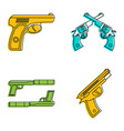 pistol icon set color outline style vector image vector image