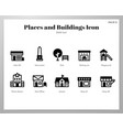places and buildings icons solid pack vector image vector image