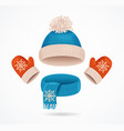 realistic 3d detailed hat scarf and mittens set vector image vector image