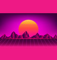 retro neon sun background vector image