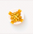 round gift box with golden bow isolated on vector image