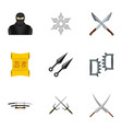 samurai icons set flat style vector image
