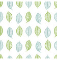 seamless hand drawn leaves in rows pattern vector image vector image