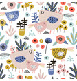 seamless pattern with flowers birds leaves in vector image vector image
