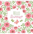 Season card Hello Summer with cute flowers and vector image