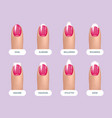 set of simple realistic pink manicured nails with vector image