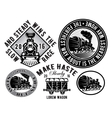 set of templates with retro locomotive wagon vector image
