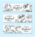shrimp banner seafood restaurant menu poster set vector image
