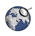 sketch of blue earth with white continents vector image vector image