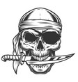 skull with knife vector image